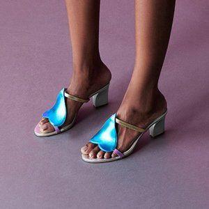 New Zvelle Sherin Metallic Blue Heart Sandal Heels